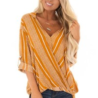 Pumpkin Crossover Front Top with 3/4 Sleeves