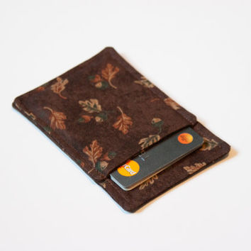 Fall card wallet, Credit card wallet, Minimalist wallet, Slim business card holder, Business card holder, Leaves Brown, Modern wallet