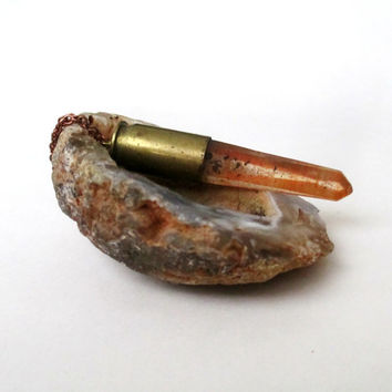Tangerine Quartz Crystal Bullet Necklace