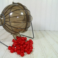 Vintage Pressman Bingo Caller's Rolling Ball Cage - Retro Metal & Smoky Black Plastic Bingo Game Equipment - Includes 53 Red Plastic Balls