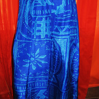 Amazing Vintage  HAWAIIAN Skirt  Options Merlose Blue Long Retro Style  Silk Size S