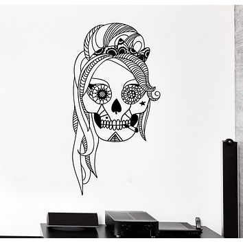 Vinyl Wall Decal Sugar Skull Mexico Woman Mexican Stickers Unique Gift (ig4293)