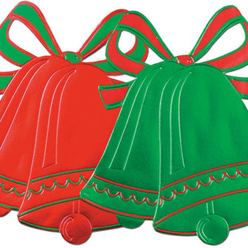 Foil Christmas Red/Green Bell Silhouettes - 16.5 inch Case Pack 24