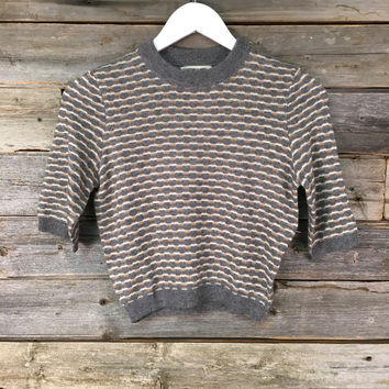 PRINT SWEATER - GREY+TAN
