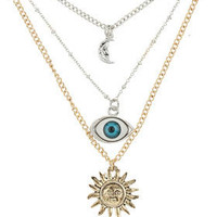 Wide Eye ditsy Multi Row Necklace - Jewelry  - Accessories  - Topshop USA