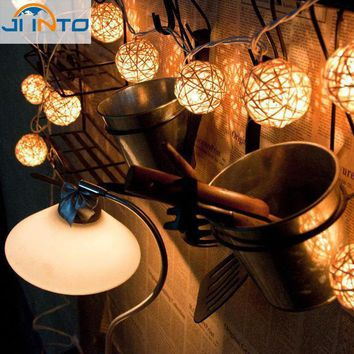 Christmas Decoration Wedding Party String Lights 20pcs White Thailand Style Hand Weaved Rattan String Ball Lantern Xmas Bal