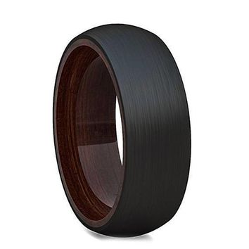 Men's Round Tungsten Wedding Band on Solid Wood Steve, Brushed Finish - 8mm