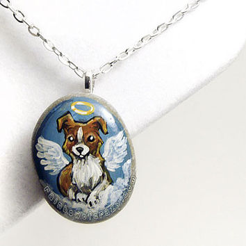 Border Collie Necklace, Angel Dog Pendant, Hand Painted Stone, Pet Memorial, Sympathy Gift, Beach Rock Jewelry, Pet Loss