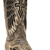 Corral Women's Square Toe Black Wings Cross Sequin Boots