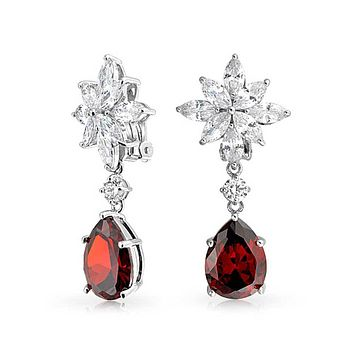 Red Teardrop CZ Statement Dangle Clip On Earrings  Simulated Ruby Silver Plated