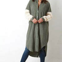 Cable Knit Sleeve Corduroy Button Up Tunic