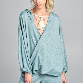 Wrap Hooded Top - Sage