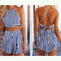 Fashion Striped cross two-piece