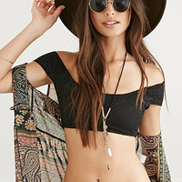 Crochet Off-The-Shoulder Bikini Crop Top