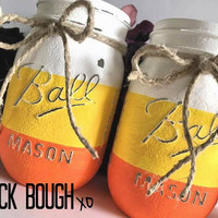 Candy corn Halloween decoration, candy corn mason jars, home decor, holiday decor, Halloween decor