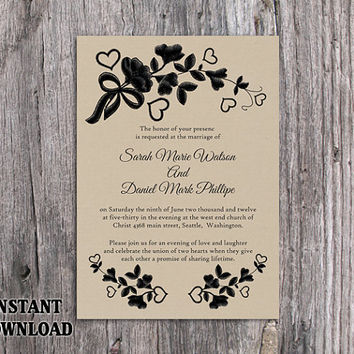 DIY Lace Wedding Invitation Template Editable Word File Download Printable Rustic Wedding Invitation Burlap Vintage Floral Invitation