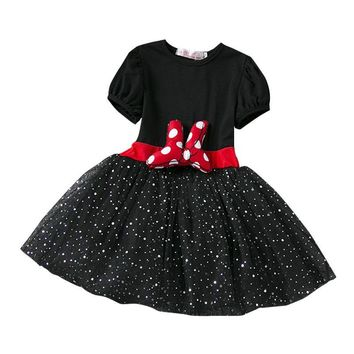 New Baby Kids Summer Dress Minnie Princess Mouse Party Costume Infant Clothing Dot Baby Clothes Girls Tutu Dresses Headband