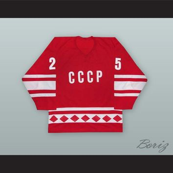1980 Vladimir Golikov 25 Soviet Union CCCP National Team Red Hockey Jersey