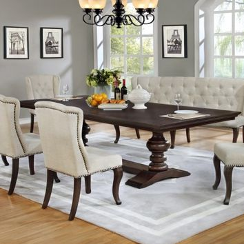 6 pc Sania II collection antique espresso finish wood rustic style dining table set with tufted chairs and love bench