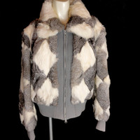 Fabulous Diamond Pattern Patchwork Harlequin Rabbit Fur Jacket White Hot 80s Vintage S M L