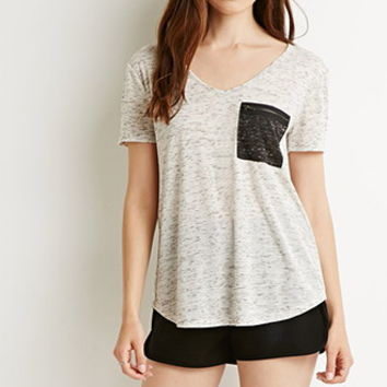 Marled Pocket V-Neck Tee