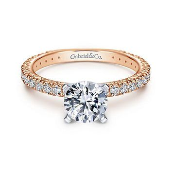 14K Rose Gold 1.40cttw Pave Diamond Engagement Ring