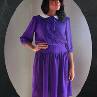 80s PETER PAN Dress s m - grape purple plum pleat bow scarf puff sleeve white collar drop waist - gatsby tea day dress - size small med