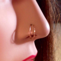Squared Double Loop Nose Ring in Gold, Rose Gold or Sterling Silver, double earring, thin nose ring,