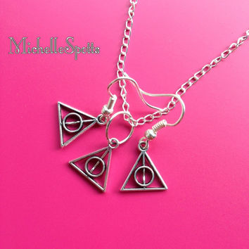 Harry Potter inspired Necklace & Earrings Set The Deathly Hallows necklace Triangle symbol leather necklace charm bracelet