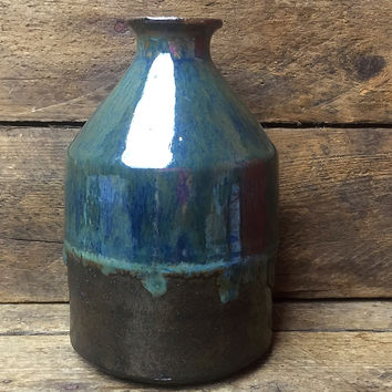 "Blue Green Pottery Vase with black base 5"" H"