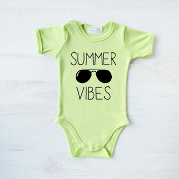 Summer Baby Clothes - Summer Vibes Baby Bodysuit - Trendy Kids Clothes, Funny Infant Outfit - Hipster Baby One Piece