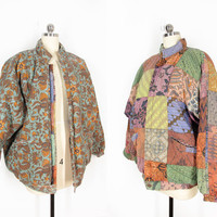 vintage reversible jacket, batik print patchwork bomber jacket, puffy coat - womens l