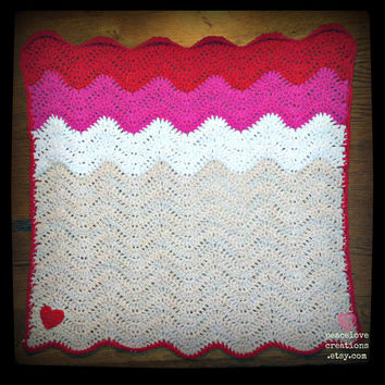100% Cotton Yarn Crochet Chevron/Ripple Baby Security Blanket