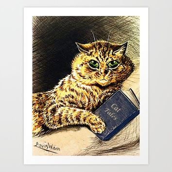 """Cat Tales"" Cat Reading Book - Louis Wain Art Print by digitaleffects"