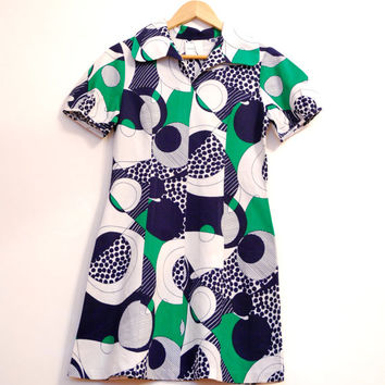 Abstract Pattern Vintage Dress, Mini Dress In Green White Blue Rounds, Size S