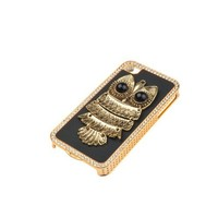 Deluxe 3D Bling Handmade Metal Night Owl Faux Leather Hard Case Cover Black for iPhone 4 4S