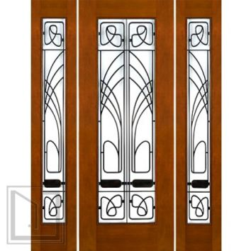 "Prehung Prehung 2-1/4"" Thick Art Nouveau Mahogany Door Sidelites Low-E Glass Iron Work"