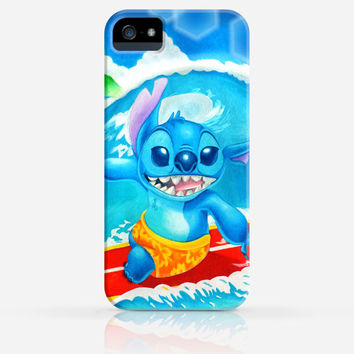 Stitch Surfing Drawing Disney iPhone 4 Case, iPhone 4s Case, iPhone 5 Case, iPhone 5s Case, iPhone Hard Plastic Case