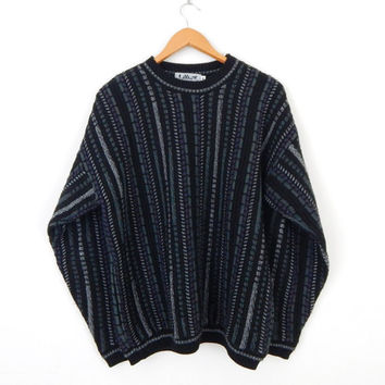 Vintage 80s LaVane Men's Oversize Hipster Sweater -Size M - Black Striped Pullover Jumper - Gray Green Purple