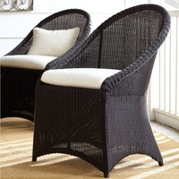Palmetto All-Weather Wicker Dining Chair - Black