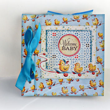 Newborn boy mini album, Scrapbooking photo album, Welcome Baby boy album, Blue book, Baby shower party, Memory photo album, Ready to ship
