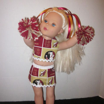American Girl 18 Inch Doll Florida State FSU Cheer Outfit Doll Cheer Uniform Baby Dolls Our Generation Dolls By Sweetpeas Bows & More