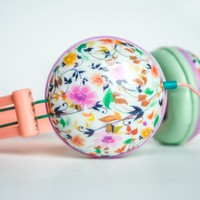Ankit Fat Bass Noise Isolating Headphones Pastel Peach Floral