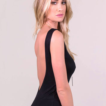 Low Scoop Back Top Black