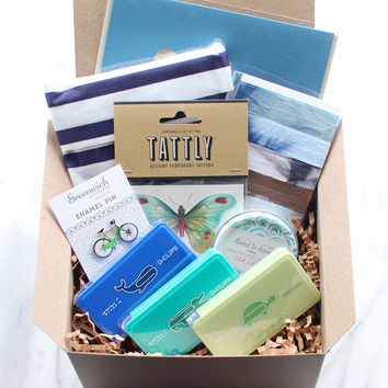 blues & greens gift box