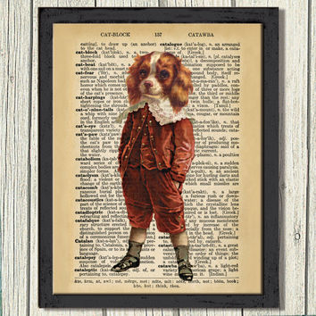 "Vintage Spaniel Boy Art Print, Wall decor,Red Velvet Suit, Decor Wall Art, 8""x10"" Digital JPEG File, 300dpi, Instant download,free shipping"
