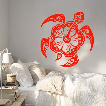 Vinyl Wall Decal Sea Turtle Animal Exotic Flower Beach Style Stickers (2691ig)