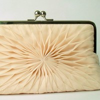 Champagne Chiffon Clutch Large by HeidiCreations on Etsy