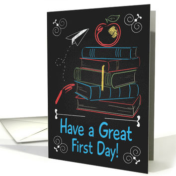 Retro Chalkboard Books and Apple for Back to School card