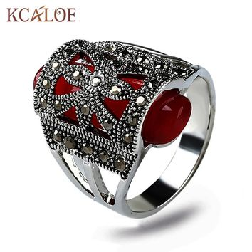 KCALOE Red Natural Stone Engagement Ring Vintage Jewelry Silver Color Antique Black Rhinestone Cubic Zirconia Womens Rings